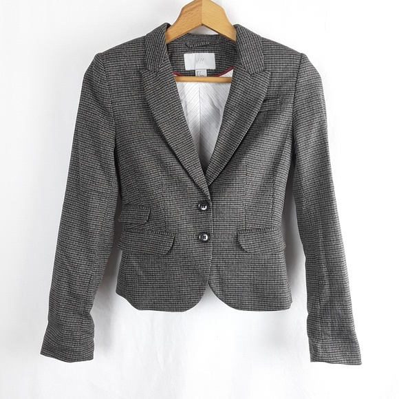 H&M Jackets & Blazers - H&M Houndstooth Fitted Blazer Dual Button Pocket